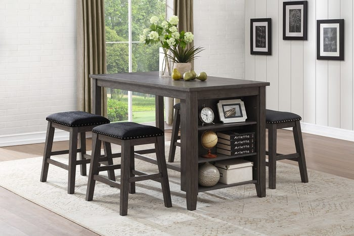 MAZIN Cntr-height Table w/Storage Grey Wire Brushed 5603-36