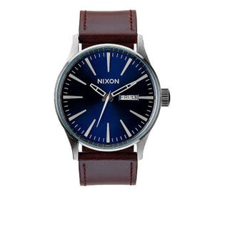 Nixon Men's Sentry Leather Blue Brown Watch A105-1524