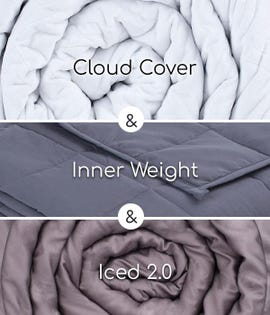 Hush Blanket  20 LB Queen  - Iced blanket -Classic White Cover  80x87-2in1-wh-20 (EA1)