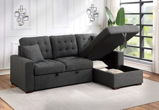 Mazin Sofa Chaise Sectional Couch Grey 2pc