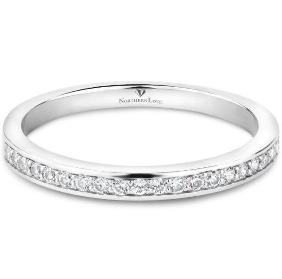 Northern Love Platinum 950 Round Diamond Wedding Band Total Carat Weight 0.20 ct (EA3)
