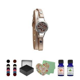 T Zone Health Gold Faux Leather Tree Bracelet Set (EA1)