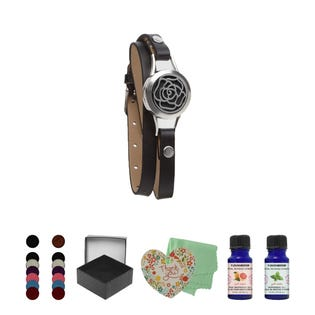 T Zone Health Black Faux Leather Rose Bracelet Set (EA1)