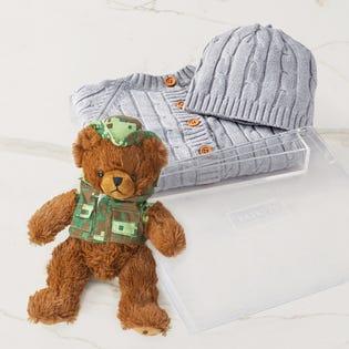 Panier-cadeau Bébé au chaud, bébé heureux gris, CANEX X Baskit (édition limitée) (EA3)