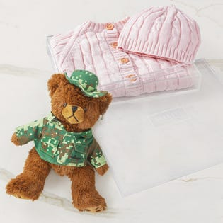 Panier-cadeau Bébé au chaud, bébé heureux gris, bleu ou rose, CANEX X Baskit (édition limitée) (EA3)