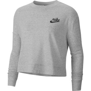 Nike Women's Gym Vintage Crew Neck Sweater Grey