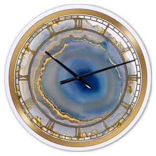 Designart Golden Water Agate Fashion Wall Clock CLM25710-C23 (EA1)