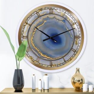 Horloge murale de mode surdimensionnée en argent Orchid Arbuckle Golden Water Agate CLM25710-C29 (EA1)