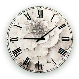 Designart Indigold Grey Peonies l' Traditional  Clock CLM30707-C38 (EA1)