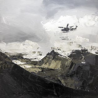 Canvas Candy In The Distance Plane Mountain 30''x30''