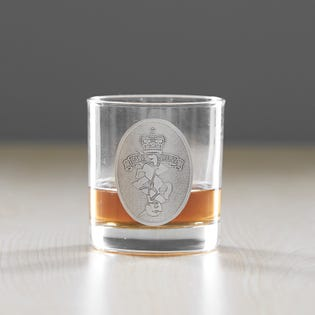 RCEME Whiskey Glass W Pewter Crest