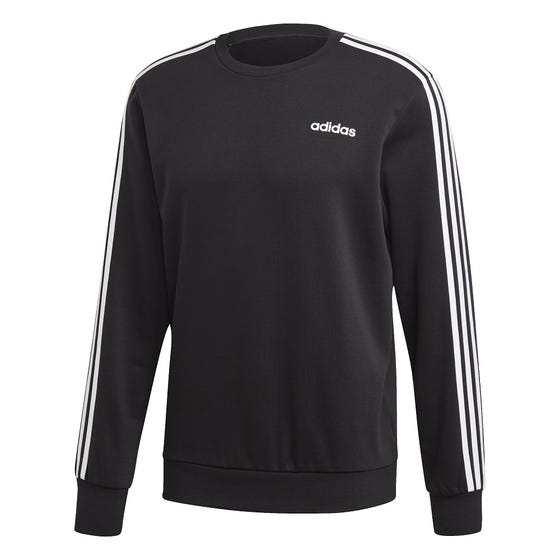 Adidas Men's 3 Stripe Crew Pull Over Black