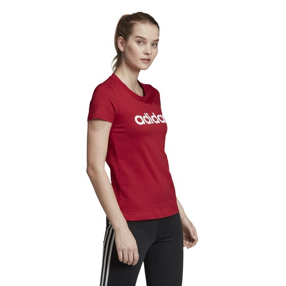 Adidas Women's Essential Linear Slim Short Sleeve T-Shirt Red