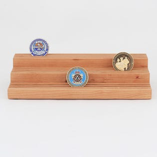 Coin Display Holder Solid Cherry