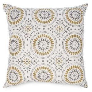 Cushion Mustard Yellow & Grey Motif