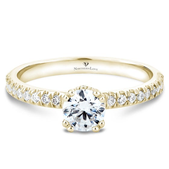 NORTHERN LOVE Yellow Gold Brilliant Cut Diamond Engagement Ring Total Carat Weight 0.75ct (EA3)