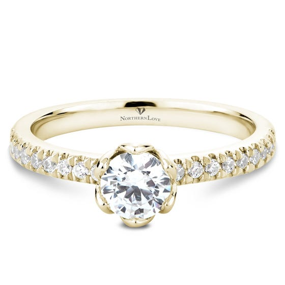 NORTHERN LOVE Yellow Gold Brilliant Cut Diamond Engagement Ring Total Carat Weight 0.70ct (EA3)