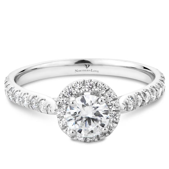 NORTHERN LOVE Platinum Brilliant Cut Diamond Engagement Ring Total Carat Weight 0.90ct (EA3)