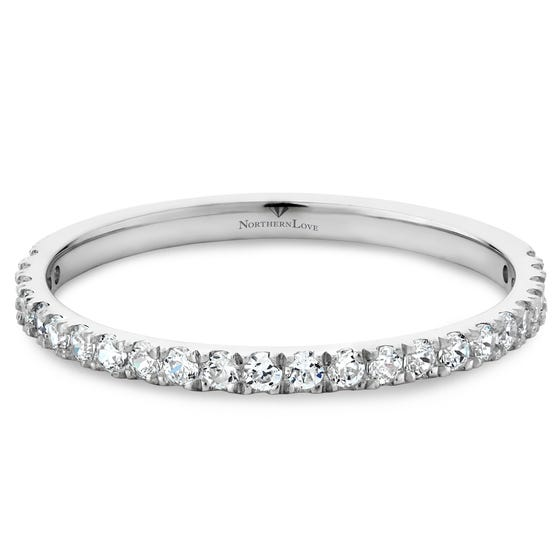 NORTHERN LOVE 14K White Gold Diamond Wedding Brand Total Carat Weight 0.37 ct (EA3)