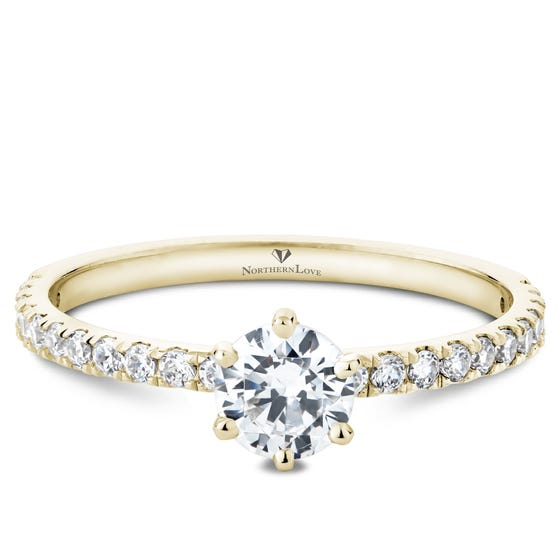 NORTHERN LOVE Yellow Gold Brilliant Cut Diamond Engagement Ring Total Carat Weight 0.84ct (EA3)