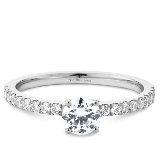 NORTHERN LOVE Platinum Brilliant Cut Diamond Engagement Ring Total Carat Weight 0.80ct (EA3)