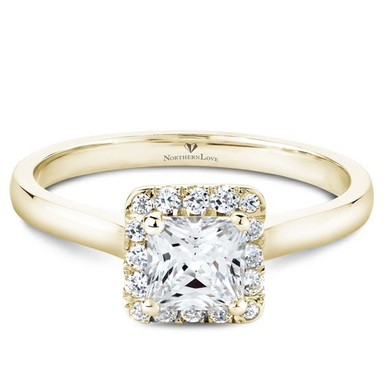 NORTHERN LOVE Yellow Gold Princess Cut Diamond Engagement Ring Total Carat Weight 0.94ct (EA3)