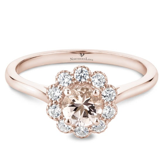 NORTHERN LOVE Pink Morganite Engagement Ring Total Carat Weight 0.77ct (EA3)