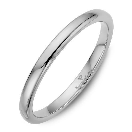 NORTHERN LOVE White Gold 2 mm Women's Wedding Band (EA3)