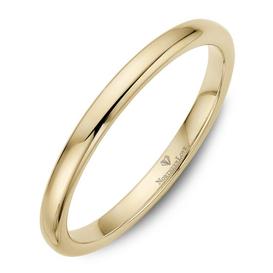 NORTHERN LOVE Yellow Gold 2 mm Women's Wedding Band (EA3)