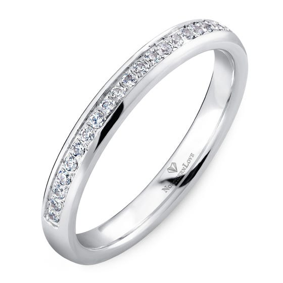 NORTHERN LOVE White Gold 2.5 mm Women's Diamond Wedding Band Total Carat Weight 0.20ct (EA3)