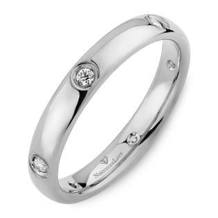 Northern Love Jonc de mariage/anniversaire 3 mm en platine 950 avec 6 diamants 0.15 ct (EA3)
