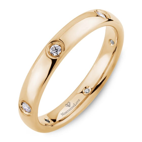 NORTHERN LOVE Yellow Gold 3 mm Women's Diamond Wedding Band Total Carat Weight 0.15ct (EA3)