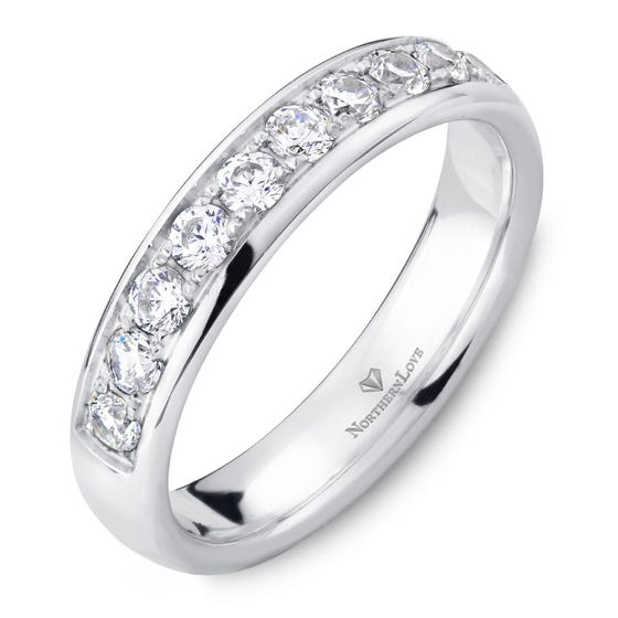 NORTHERN LOVE White Gold 4 mm Women's Diamond Wedding Band Total Carat Weight 0.50ct (EA3)