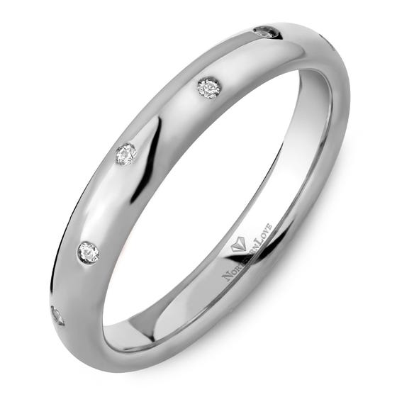 NORTHERN LOVE White Gold 3 mm Women's Diamond Wedding Band Total Carat Weight 0.07ct (EA3)