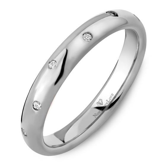 Northern Love Platinum 3 mm Women's Wedding Band Total Carat Weight 0.07ct (EA3)