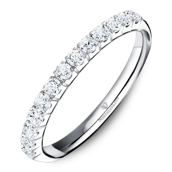 NORTHERN LOVE White Gold 2 mm Women's Diamond Wedding Band Total Carat Weight 0.33ct (EA3)