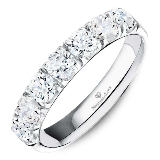 NORTHERN LOVE Platinum 4 mm Women's Wedding Band Total Carat Weight 1.05ct (EA3)