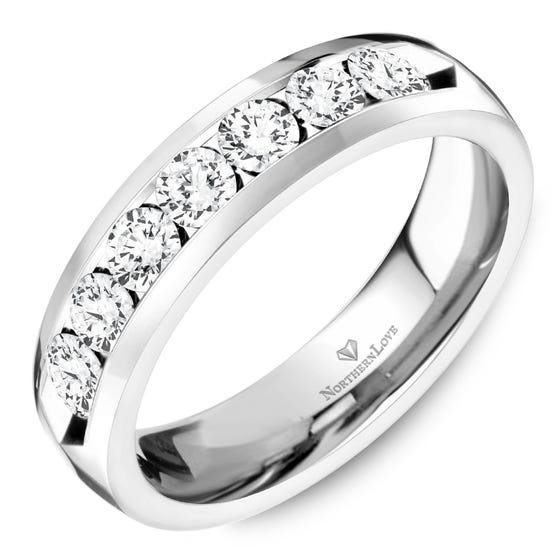 NORTHERN LOVE White Gold 4.5 mm Women's Diamond Wedding Band Total Carat Weight 0.70ct (EA3)