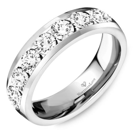 NORTHERN LOVE Platinum 5 mm Women's Wedding Band Total Carat Weight 1.05ct (EA3)
