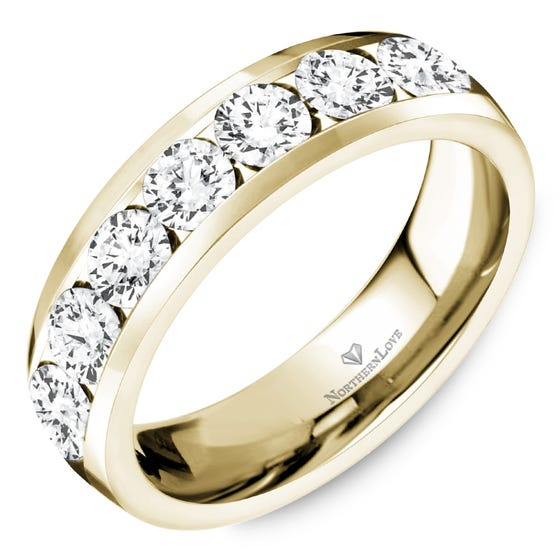 NORTHERN LOVE Yellow Gold 5 mm Women's Diamond Wedding Band Total Carat Weight 1.05ct (EA3)