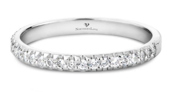 NORTHERN LOVE 14K White Gold Diamond Wedding Band Total Carat Weight 0.24 ct (EA3)