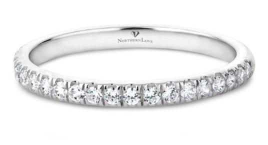 NORTHERN LOVE 14K White Gold Diamond Wedding Band Total Carat Weight 0.23ct (EA3)