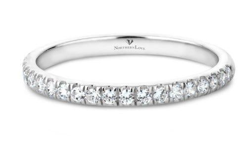 NORTHERN LOVE 14K White Gold Diamond Wedding Band Total Carat Weight 0.37ct (EA3)