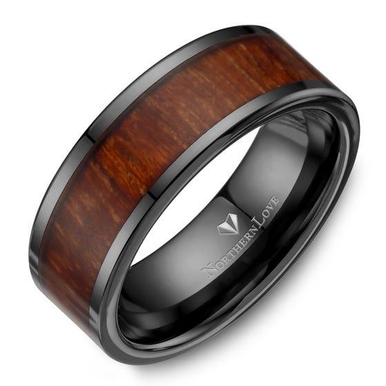 NORTHERN LOVE Bague sportif 9 mm en céramique noire avec motif de bois