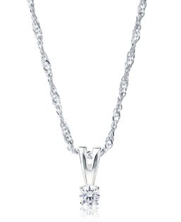 NORTHERN LOVE Pendentif solitaire diamant en or blanc 14 K 0.10 ct (EA3)