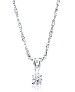 NORTHERN LOVE Pendentif solitaire diamant en or blanc 14 K 0.25 ct (EA3)