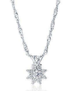 NORTHERN LOVE Pendentif diamants fleur en or blanc14 K 0.28 ct (EA3)