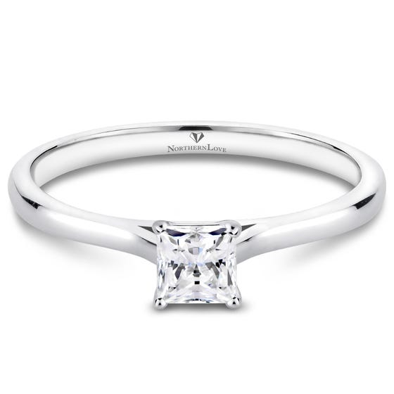 NORTHERN LOVE White Gold Princess Cut Diamond Engagement Ring Total Carat Weight 0.25ct (EA3)