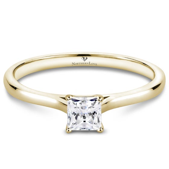 NORTHERN LOVE Yellow Gold Princess Cut Diamond Engagement Ring Total Carat Weight 0.25ct (EA3)