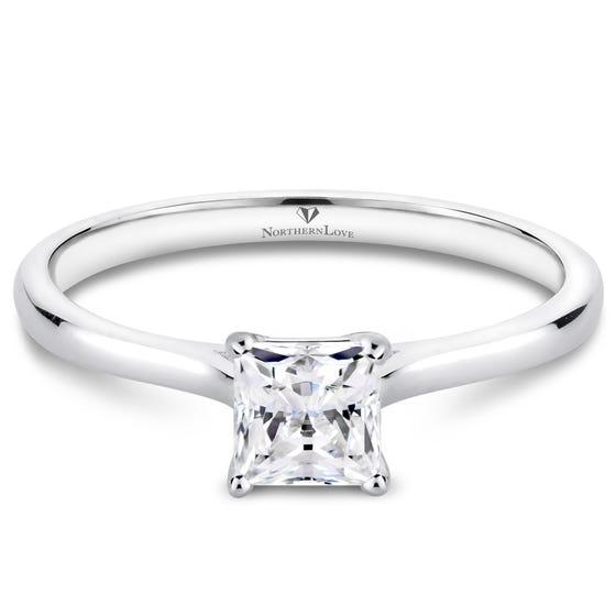 NORTHERN LOVE Platinum Princess Cut Diamond Engagement Ring Total Carat Weight 0.50ct (EA3)